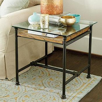 Fletcher Side Table I Ballard Designs - wood planked side table, rustic wood and iron side table, glass topped wood side table,