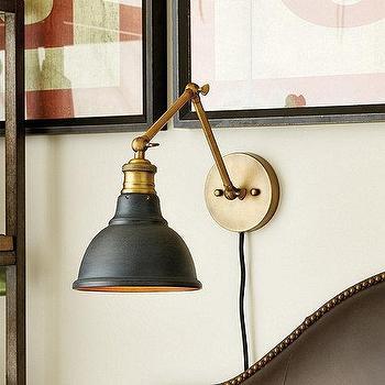 Lighting - Voltaire Wall Sconce I Ballard Designs - brass adjustable wall sconce, brass sconce with black shade, brass adjustable wall lamp,