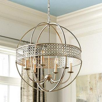Lighting - Marais 6 Light Orb Chandelier I Ballard Design - silver orb chandelier, silver sphere chandelier, antique silver orb chandelier,