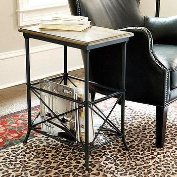 Tables - Sloan Storage Side Table I Ballard Designs - magazine storage side table, wood and iron side table, side table with magazine storage, magazine rack side table,