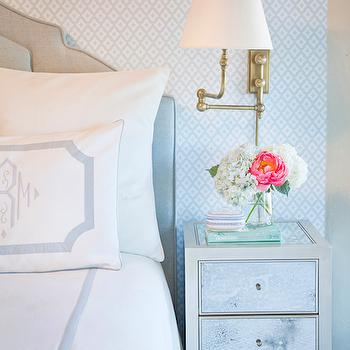 Tiffany Richey and Chrissi Shields Design - bedrooms - bedroom wall lights, bedroom sconces, white and blue bedrooms, white and blue diamond wallpaper, diamond print wallpaper, diamond pattern wallpaper, blue diamond wallpaper, blue headboard, blue velvet headboard, white and blue bedding, monogram bedding, white and blue monogram bedding, brass swing arm sconce, mirrored nightstand, antiqued mirrored nightstand, blue geometric rug, blue diamond rug, blue bedrooms,