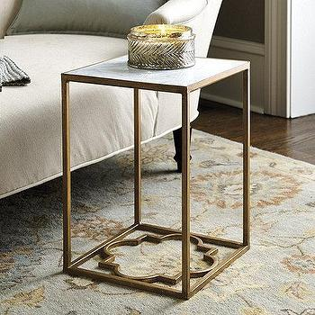 Tables - Geometric Side Table I Ballard Designs - geometric side table, gold marble topped side table, gold quatrefoil side table, quatrefoil base side table,