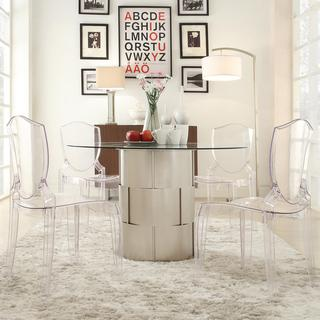 Tables - Elbridge Woven Drum Glass Dining Table | Overstock.com - woven silver dining table, contemporary silver dining table, round silver dining table, silver dining table with glass top,