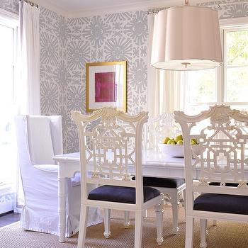 Ashley Goforth Design - dining rooms - white and gray wallpaper, white and gray print wallpaper, dining room wallpaper, grosgrain curtains, scallop pendant, scallop chandelier, barbara barry pendant, barbara barry chandelier, white dining table, bamboo dining table, faux bamboo dining table, white faux bamboo dining table, chippendale chairs, chippendale dining chairs, white chippendale chairs, captain dining chairs, wingback dining chairs, wingback captain dining chairs, slipcovered dining chairs, bound sisal rug, dining room chandeliers,
