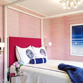 Tiffany Richey and Chrissi Shields Design - bedrooms - pink and blue rooms, pink and blue bedrooms, pink and navy rooms, pink and navy bedrooms, pink and navy blue rooms, pink and navy blue bedrooms, pink grasscloth, pink grasscloth wallpaper, canopy bed, canopy bed with headboard, hot pink headboard, chevron headboard, pink chevron headboard, hot pink chevron headboard, monogram shams, monogrammed shams, blue monogram shams, blue monogrammed shams, white and blue bedding, navy monogrammed shams, blue bolster pillow, polished nickel accent table,