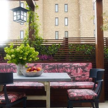 Wesley Moon - decks/patios - klismos chairs, black klismos chairs, outdoor klismos chairs, black outdoor klismos chairs, outdoor chairs, chinoiserie deck, chinoiserie patio, toile fabric, pink toile fabric, toile cushions, toile seat cushions, pink toile cushions, concrete top table, concrete dining table, concrete top dining table, trestle table, trestle dining table, pergola, pergola ideas, zen patio, zen deck, asian deck design, rooftop deck, rooftop pergola, rooftop patio,