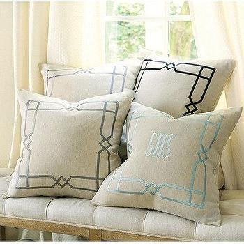 Pillows - Lattice Embroidered Linen Pillow I Ballard Designs - monogrammed linen pillow, lattice embroidered pillow, blue embroidered frame pillow, gray embroidered frame pillow, gray embroidered frame pillow, black embroidered frame pillow,