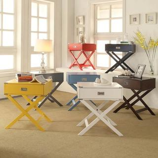 Tables - INSPIRE Q Kenton X Base Wood Accent Table | Overstock.com - white campaign nightstand, white x base nightstand, campaign style accent table, campaign style nightstand, yellow campaign nightstand, yellow x base accent table, red x base accent table, blue x base accent table, gray x base side table, black x base side table,