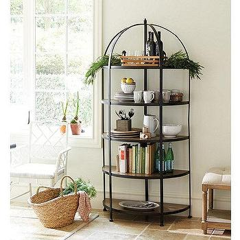 Storage Furniture - Lyon Curved Bookcase | Ballard Designs - iron bakers rack, iron bookcase, curved iron bookcase, curved iron bakers rack,