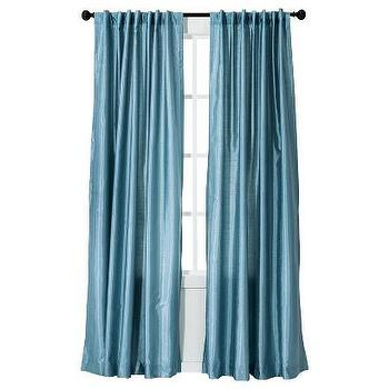 Window Treatments - Threshold Faux Silk Window Panel I Target - blue faux silk drapes, blue faux silk curtains, blue faux silk window panel, sky blue faux silk drapes,
