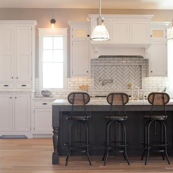 My Rafter House - kitchens - white and gray kitchens, charcoal gray island, charcoal gray kitchen island, gray kitchen island, kitchen island legs, turned legs on island, turned legs on kitchen island, kitchen island turned legs, island turned legs, wood and iron barstools, factory barstools, white marble countertop, island sink, kitchen island sink, perimeter cabinets, white kitchen cabinets, white linear tiles, white tiles with gray grout, white tiles gray grout, white kitchen tiles gray grout, white kitchen hood, swing arm pot filler, cooktop niche, tiled cooktop niche, herringbone tiles, herringbone cooktop tiles, herringbone stove tiles, herringbone backsplash, herringbone kitchen backsplash, oil rubbed bronze hardware,