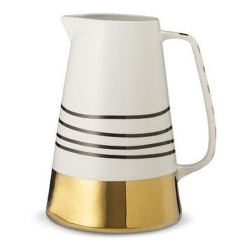 Decor/Accessories - Oh Joy! Striped Stoneware Pitcher I Target - striped stoneware pitcher, black and gold pitcher, black and metallic gold pitcher,