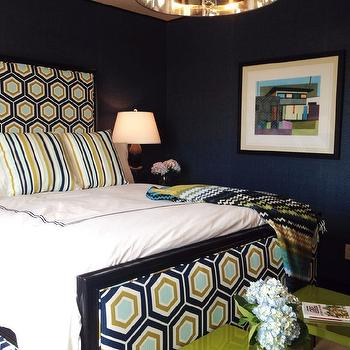 Tiffany Richey and Chrissi Shields Design - bedrooms - navy and green rooms, navy and green bedrooms, navy walls, navy bedroom walls, missoni throw, hex headboard, hex bed, hexagon headboard, hexagon bed, david hicks hex, david hicks hexagon, david hicks hexagon fabric, hicks hexagon, hicks hex, hicks hex fabric, hicks hexagon fabric, striped pillows, blue and green pillows, blue and green striped pillows, green tables, green accent tables, green lacquer tables,