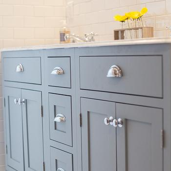 My Rafter House - bathrooms - gray dual vanity, gray double vanity, gray dual washstand, nickel cup pulls, white marble countertop, ogee edge, countertop with ogee edge, subway tiles, white subway tiles, gray cabinets, gray bath cabinets, gray vanity cabinets,