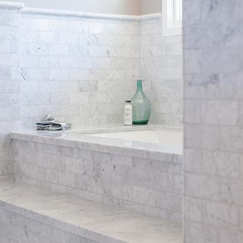 My Rafter House - bathrooms - bathtub steps, tub steps, marble bathtub steps, marble tub steps, tiled tub steps, tiled bathtub steps, spa like bathroom, spa bathtub, marble tub deck, marble subway tiles,