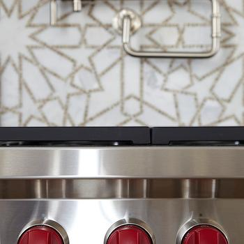 OXA Architecture - kitchens - white and gold tiles, white and gold mosaic tiles, white and gold mosaic backsplash, white and gold kitchen backsplash, white and gold mosaic kitchen backsplash, wolf range, swing arm pot filler,