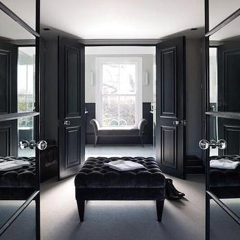 closets - pass through closet, black closets, black closet ideas, mirrored doors, mirrored double doors, mirrored closet doors, double closet doors, mirror closet doors, mirror double doors, black ottoman, black velvet ottoman, black velvet tufted ottoman, black double doors, black closet doors,