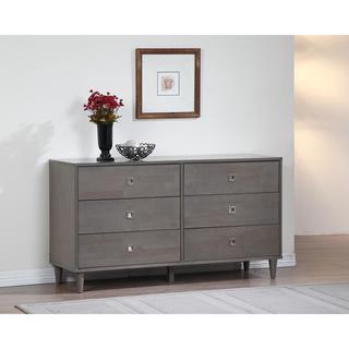 Storage Furniture - Marley Light Charcoal Grey 6-drawer Dresser | Overstock.com - gray dresser, contemporary gray dresser, gray dresser with silver pulls, gray dresser with square pulls, modern gray dresser, gray 6 drawer dresser, gray six drawer dresser,