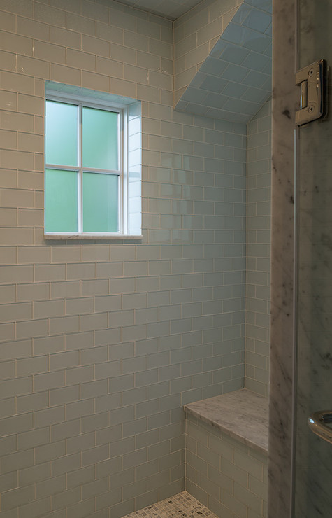 Blue Glass Subway Tiles Transitional Bathroom Moore Architects