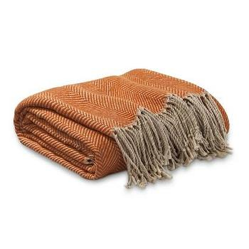 Decor/Accessories - Threshold Herringbone Throw I Target - herringbone throw, orange herringbone throw, herringbone wool throw,