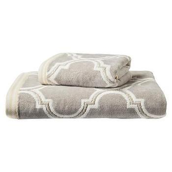 Bath - Threshold Frett Towel I Target - gray fretwork towel, gray geometric towel, fretwork patterned towel, gray arabesque towel,