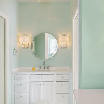 Moore Architects - bathrooms - mint green bathrooms, green bathrooms, white and green bathrooms, white and mint green bathrooms, kids bathrooms, mint green kids bathrooms, green kids bathrooms, bling flush mount, bling flushmount, fortune teller scone, crystal ball sconce, vanity sconces, bathroom wall lights, round vanity mirror, round pivot mirror, white washstand, white quartz countertops, step stool, bathroom step stool, white penny tiles, penny tiled floor, green penny tiles, penny tiled floor, white and green penny tiles, bathroom penny tiles,
