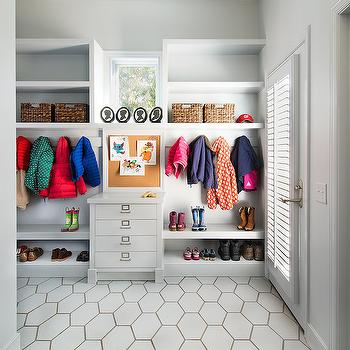 Moore Architects - laundry/mud rooms - gray mudrooms, gray mudroom lockers, gray mudroom cabinets, shoe shelves, shelves for shoes, mudroom shoe shelves, mudroom shelves for shoes, mudroom shoe storage, mudroom shoe storage ideas, mudroom cork board, mudroom message board, mudroom bulletin board, large hex tiles, oversized hex tiles, hex floor, mudroom hex tiles, mudroom hex floor, gray mudroom tiles, gray hex tules, gray hex floor,