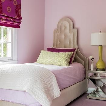 Jennifer Palumbo - girl's rooms - pink walls, pink wall color, pink ceiling, painted ceiling, pink carpet, pink wall to wall carpet, pink girls room ideas, pink bedroom carpet, x base mirrored nightstand, mirrored nightstand, mirrored one drawer nightstand, chartreuse lamp, chartreuse table lamp, beige velvet headboard, arched velvet headboard, arched velvet tufted headboard, ivory matelasse coverlet, beige velvet bed, pink bedding, pink bed linens, green lumbar pillow, green diamond print pillow, burgundy pillow shade, burgundy and fuchsia window shade, burgundy and pink roman shade, contemporary floral print shade, floral window shade,