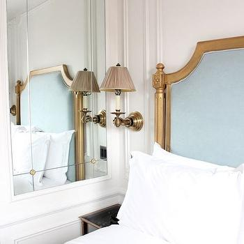 bedrooms - bedroom mirrors, inset mirror, wall mirrors, inset wall mirror, french bed, blue bed, blue french bed, wall moldings, wall trim,