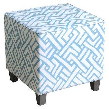 Threshold Ottoman Cube I Target - blue and white ottoman cube, blue geometric ottoman cube, blue ottoman cube,