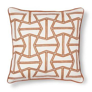 Pillows - Threshold Geometric Corded Toss Pillow I Target - orange and silver pillow, orange geometric pillow, orange corded pillow,