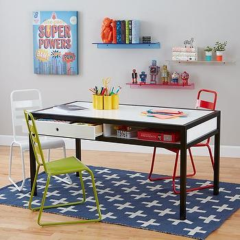 Tables - Adjustable Hi-Fi Play Table (White/Black) I Land of Nod - modern kids play table, black and white kids table, kids storage play table,