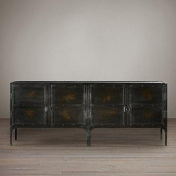 Storage Furniture - Industrial Tool Chest Sideboard I Restoration Hardware - metal sideboard, french industrial sideboard, black industrial sideboard,