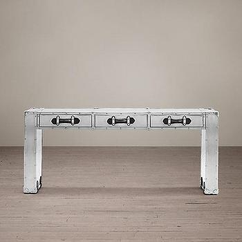 Storage Furniture - Trans-Atlantic Steamer Parsons Trunk Console I Restoration Hardware - brushed aluminum trunk console, silver trunk console, industrial steamer trunk console, silver industrial console table,