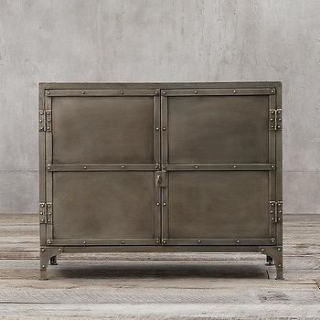 Storage Furniture - Industrial Tool Chest Small Sideboard I Restoration Hardware - tool chest sideboard, industrial metal cabinet, industrial metal sideboard,