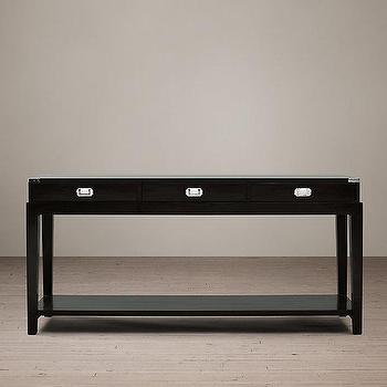 Storage Furniture - Warwick Campaign Console Table I Restoration Hardware - black campaign console table, campaign style console table, black console with campaign hardware,