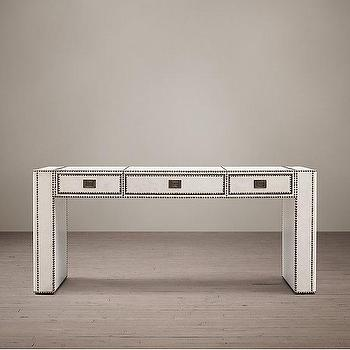 Storage Furniture - Marseilles Console Table I Restoration Hardware - white leather trunk console, leather trunk console table, leather and nailhead trim console, industrial white leather console,