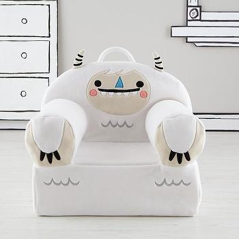 Seating - Executive Fuzzy Pet Nod Chair (Yeti) I Land of Nod - white yeti chair, monster kids chair, kids armchair, yeti kids chair,