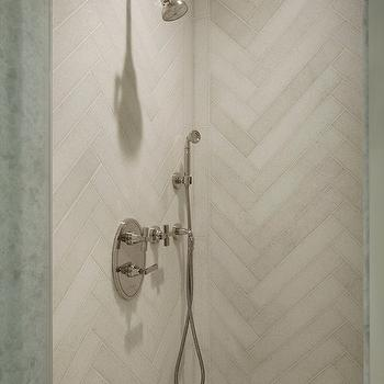 Lichten Craig Architects - bathrooms - wall mount shower head, chrome wall mount shower head, adjustable shower head, adjustable chrome shower head, herringbone shower surround, herringbone tiled shower surround, stone herringbone shower surround, herringbone tile, stone tiled shower surround, herringbone shower tiles,