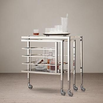 Storage Furniture - Martini Bar Cart I Restoration Hardware - stainless steel bar cart, art deco style bar cart, deco style bar cart,