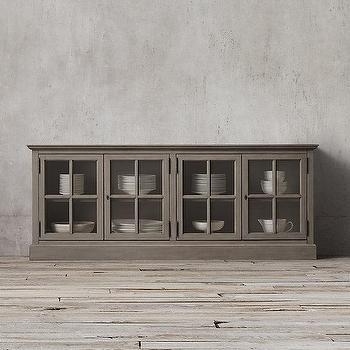 Storage Furniture - French Casement Glass Sideboard I Restoration Hardware - gray glass front sideboard, french gray sideboard, traditional gray sideboard,