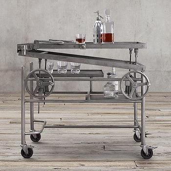 Storage Furniture - French Crank-Lift Bar Cart I Restoration Hardware - industrial bar cart, steel bar cart, rolling bar cart, crank bar cart, adjustable bar cart, z lift bar cart,