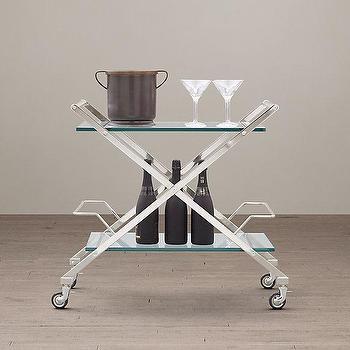 Storage Furniture - Rickey Bar Cart I Restoration Hardware - stainless steel x bar cart, x shaped bar cart, stainless steel and glass bar cart,