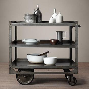 Storage Furniture - 1930s Industrial Steel Bar Cart I Restoration Hardware - industrial bar cart, steel bar cart, steel bar cart on wheels, industrial steel bar cart,