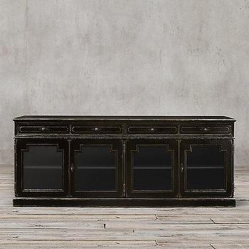 Storage Furniture - Montpellier Glass Sideboard I Restoration Hardware - antiqued black sideboard, traditional black sideboard, black french baroque sideboard,