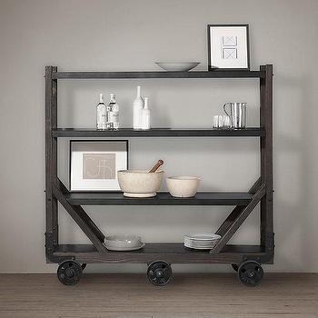 Storage Furniture - Vintage Utility Bar Cart I Restoration Hardware - industrial bar cart, black bar cart, black wooden bar cart, industrial kitchen cart,