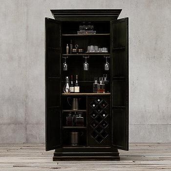 Storage Furniture - 17th C. Castello Double-Door Bar Cabinet I Restoration Hardware - weathered black bar cabinet, black walnut bar cabinet, distressed black bar cabinet,