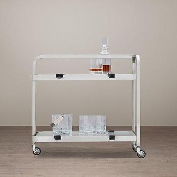 Storage Furniture - Carlyle Bar Cart I Restoration Hardware - stainless steel bar cart, french bar cart, 1930s style bar cart, stainless steel and glass bar cart,