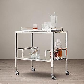 Storage Furniture - Gibson Bar Cart I Restoration Hardware - mirrored shelf bar cart, stainless steel bar cart, silver and glass bar cart, modern silver bar cart,