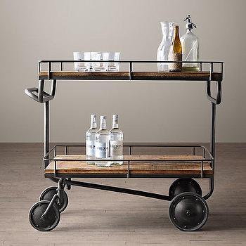 Storage Furniture - Warehouse Trolley Bar Cart I Restoration Hardware - wood and iron bar cart, trolley bar cart, vintage factory bar cart, steel and wood bar cart,